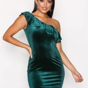Only Onlvega Oneshoulder Bodycon Dress W Juhlamekko Tummanvihreä