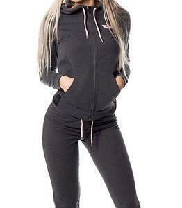 Only Play Ellen Hood Zip Sweat Dark Grey Melange