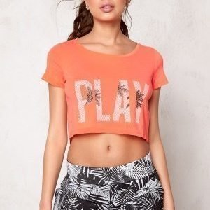 Only Play Joyelle Regular Crop Tee Bright Orange