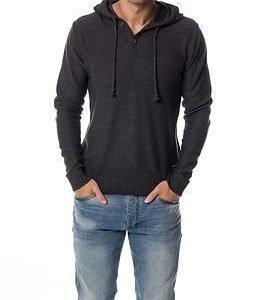 Only & Sons Daniel Hooded Knit Dark Grey Melange