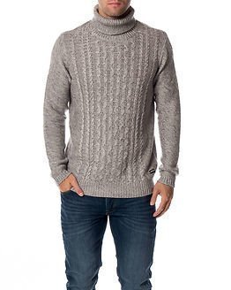 Only & Sons Dominic High Neck Knit Light Grey Melange