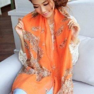 Oranssi printtihuivi