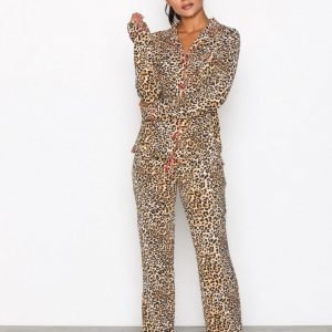 P-J Salvage Leo Nights Pj Set Yöpaitasetti Leopard