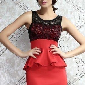 Paisley punainen peplum-mekko