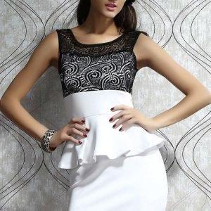 Paisley valkoinen peplum-mekko