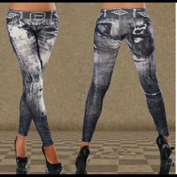 Paris angel jeans print leggings