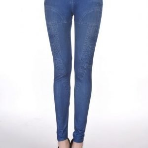 Patched blue jeans print leggings