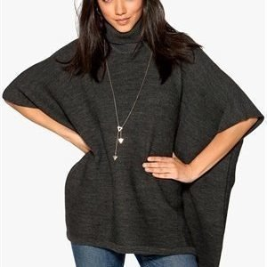 Pieces Billi Poncho Dark Grey Melange