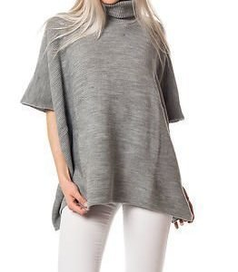 Pieces Billi Stripe Poncho Light Grey Melange