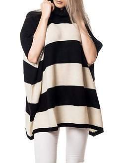 Pieces Billi Stripe Poncho Stripe Black