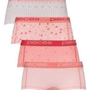 Pieces Bokserit Logo 4-Pakkaus Roosa Kuvioitu