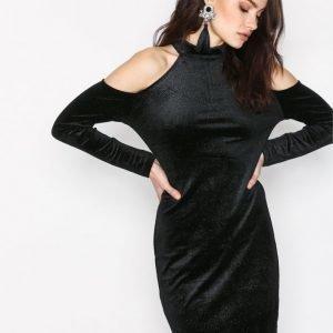 Pieces Pcagnete Glitter T-Neck Dress Kotelomekko Musta