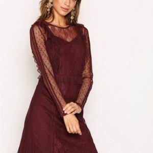 Pieces Pclei Ls Dress D2d Kotelomekko Tummanpunainen