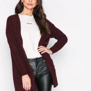Pieces Pcrenee Ls Long Wool Cardigan Neulepusero Tummanpunainen