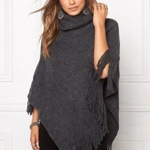 Pieces Pollus Poncho Dark Grey Melange