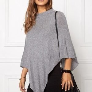 Pieces Rikki Wool Poncho Noos Light Grey Melange