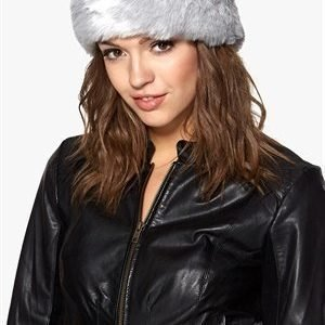 Pieces Villac fake fur headband Lunar rock