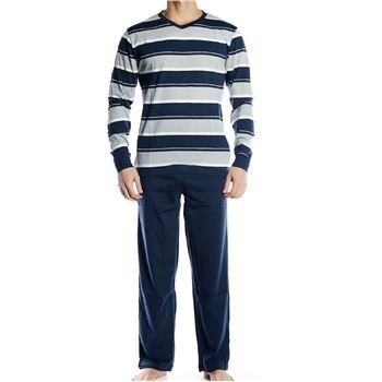 Pierre Hector Jersey Long Pyjamas Set Navy