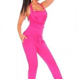 Pinkki halterneck-jumpsuit