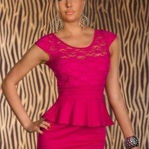 Pinkki peplum-mekko