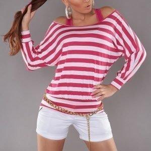 Pinkki raidallinen 2in1 paita
