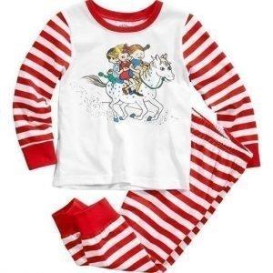 Pippi Långstrump Pyjama Punainen Valkoinen Raidallinen