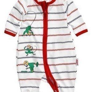 Pippi Långstrump Pyjama Valkoinen Punainen Sininen