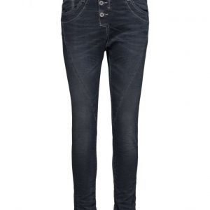 Please Jeans Classic Dark Blue No Holes suorat farkut