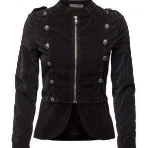 Please Jeans Velour Jacket Nero kevyt takki