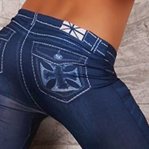 Pocket after cross hole jeans print leggings