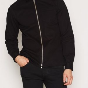 Premium by Jack & Jones Jprbord Ls Zip Shirt Exp Kauluspaita Musta