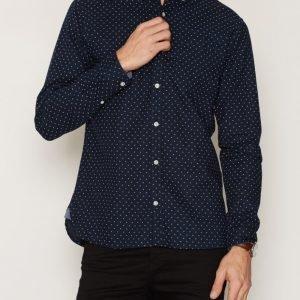 Premium by Jack & Jones Jprdavid Print Shirt L/S Kauluspaita Tummansininen