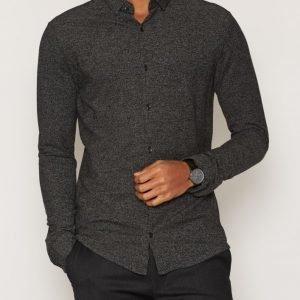 Premium by Jack & Jones Jprtwo Pique Shirt Ls Kauluspaita Tummanharmaa