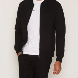 Premium by Jack & Jones Jprwall Sweat Zip Basball Neck Pusero Musta