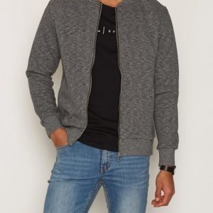 Premium by Jack & Jones Jprwall Sweat Zip Basball Neck Pusero Tummanharmaa
