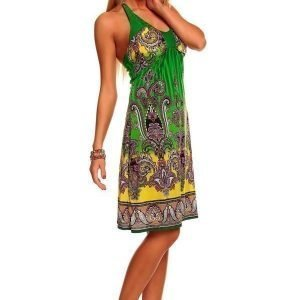 Print vihreä mekko