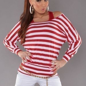 Punainen raidallinen 2in1 paita