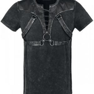 Punk Rave Strap Leather Shirt T-paita