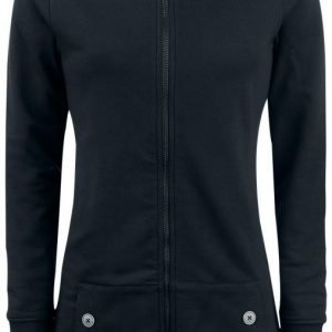 Pussy Deluxe Black Longsweater Coat With White Dotties Lining Naisten Vetoketjuhuppari