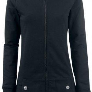 Pussy Deluxe Black Longsweater Coat With White Leo Lining Naisten Vetoketjuhuppari