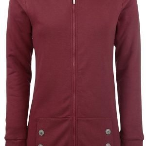 Pussy Deluxe Red Longsweater Coat With White Dotties Lining Naisten Vetoketjuhuppari
