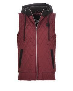 Quilted Hooded Vest Burgundy
