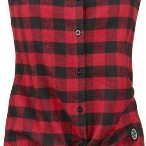 R.E.D. By Emp Checkered Sleeveless Shirt Lyhythihainen Naisten Pusero