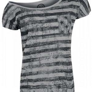 R.E.D. By Emp Grunge Stripe Boatneck Shirt Naisten T-paita