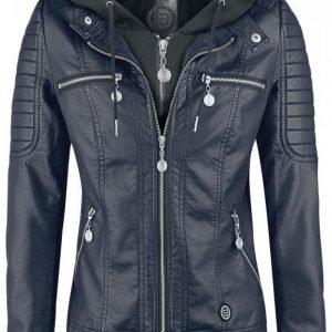 R.E.D. By Emp Hooded Faux Leather Jacket Naisten Välikausitakki