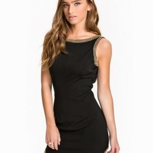 Rare London Curve Hem Chain Trim Bodycon Dress