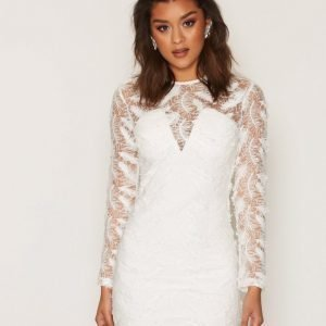 Rare London Feather Lace Detail Mini Dress Kotelomekko White