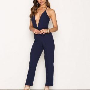 Rare London Lace Back Tailored Jumpsuit Blue