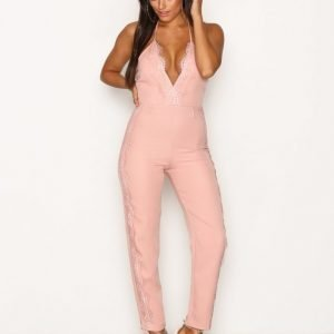 Rare London Lace Detail Jumpsuit Blush
