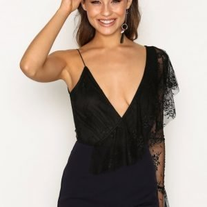 Rare London Lace One Shoulder Bodysuit Body Black
